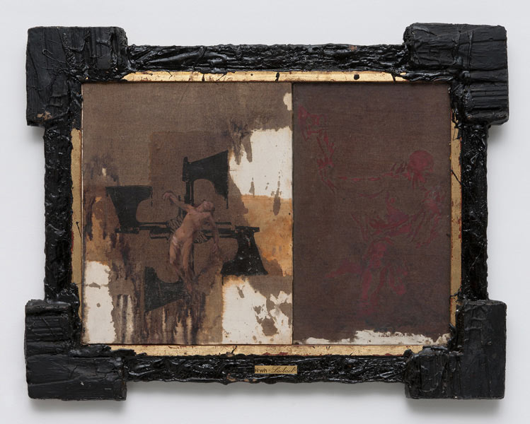 Blood & Loyalty, wood, tar, glass, oil on canvas, 71 x 91 cm, 1985