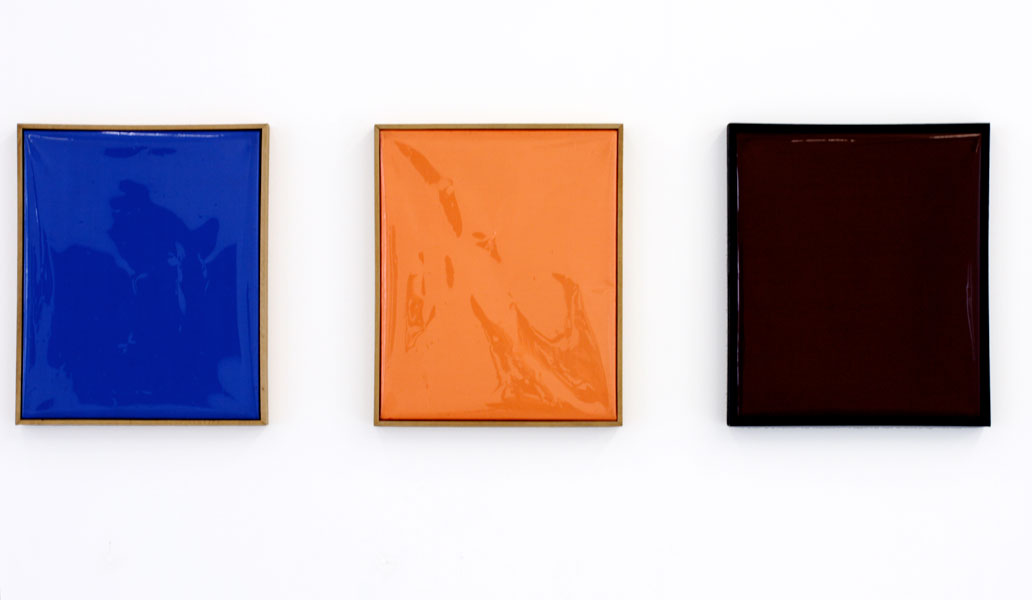 Untitled, polyester filter (85), polyester filter (85 + ND3) and polyester filter (Full CT Blue) on canvas, 37 x 29 cm each, 1988