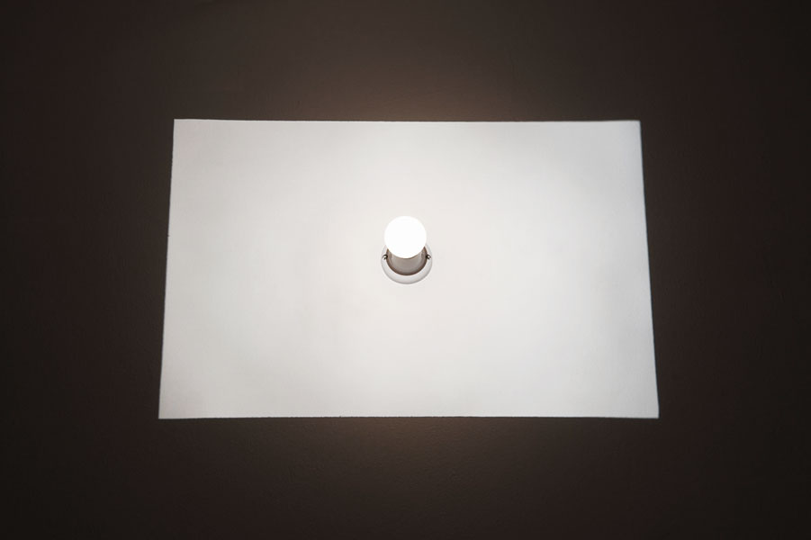 Stop, light installation, electric bulb, slide projector, variable dimensions, 2001