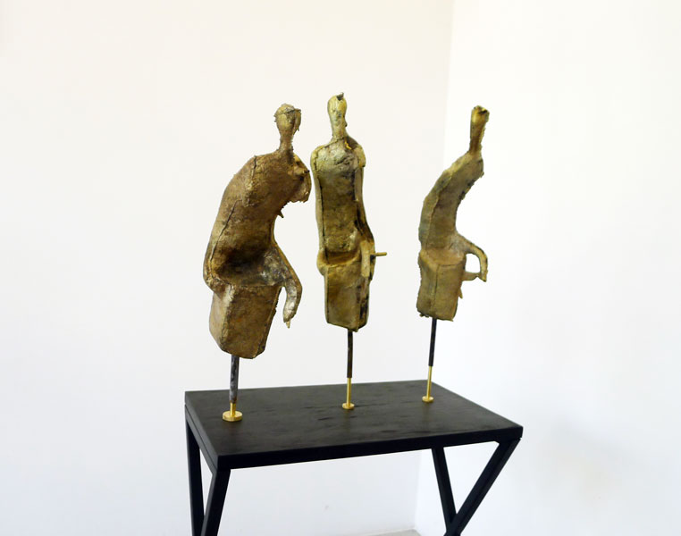 Shades, bronze, brass, wood, metal pedestal, 128 x 48 x 60 cm, 2013