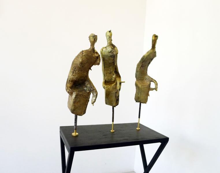 Shades, bronze, brass, wood, metal pedestal, 128 x 48 x 60 cm, 2013