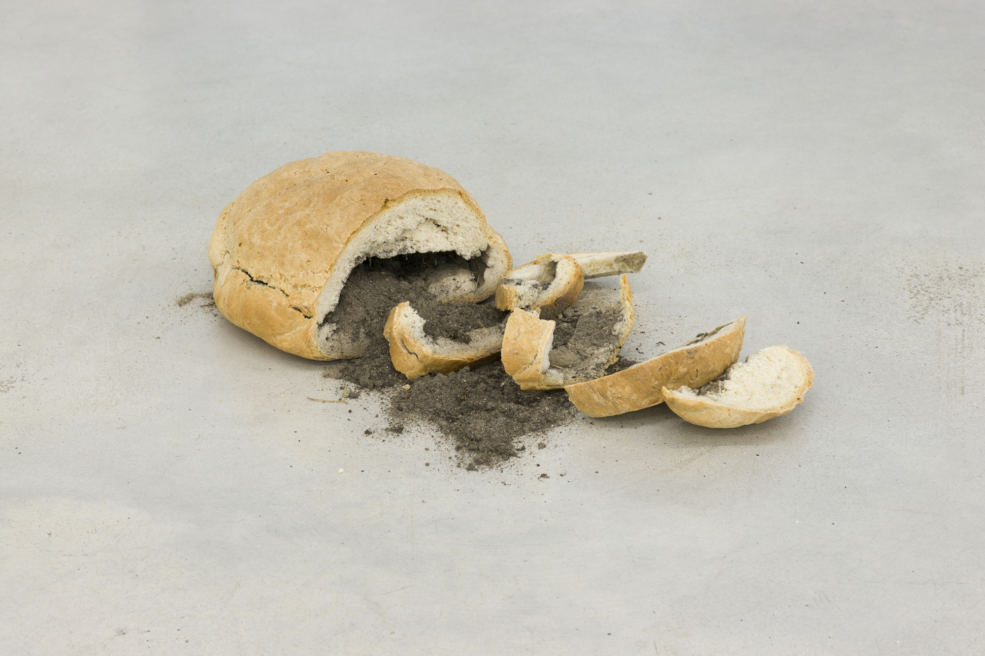 Bread with Soil, bread baked with German and Polish soil, variable dimensions, 2014 - 2015