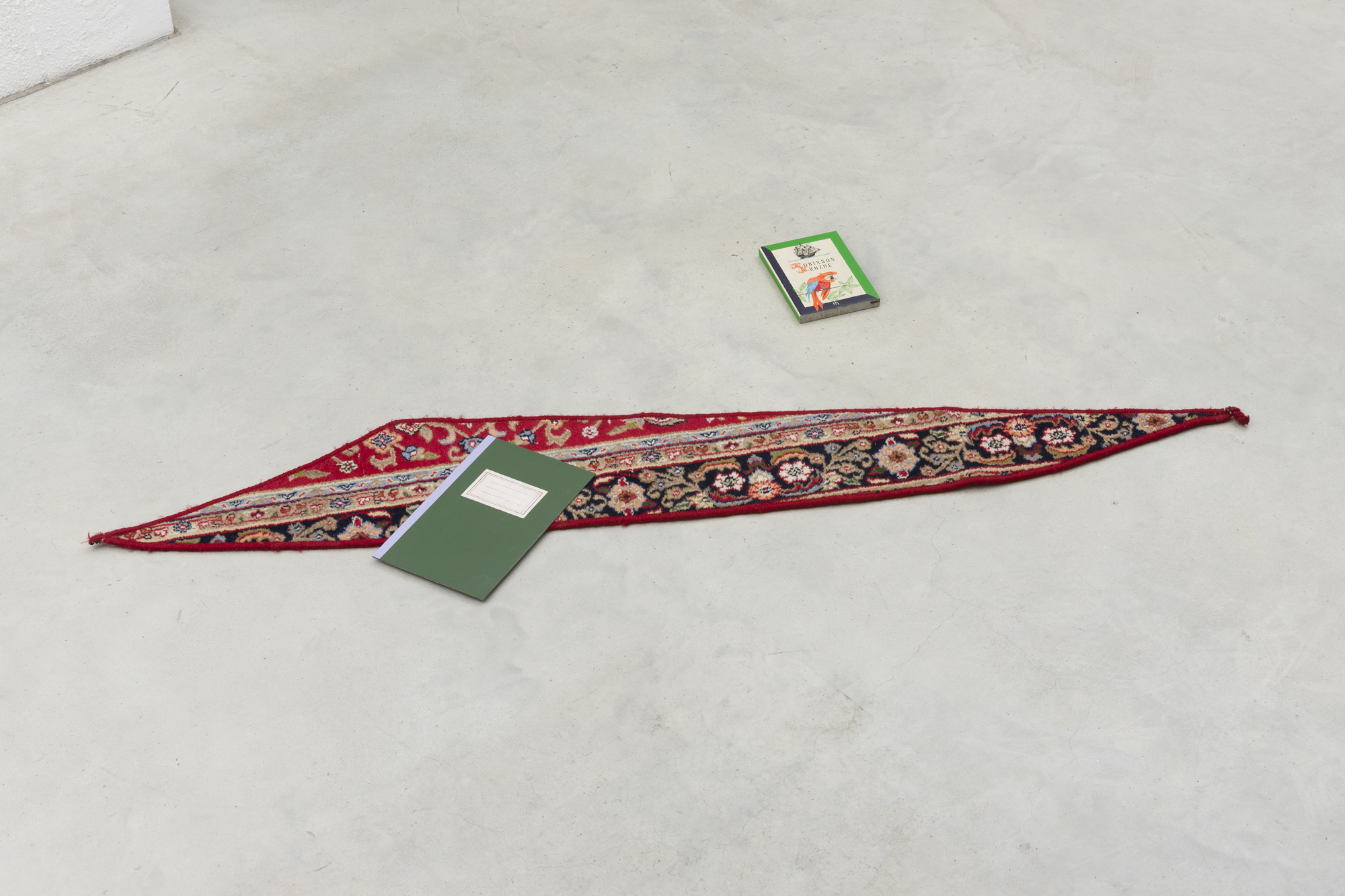Carpet Piece with Book and Notebook, carpet, thread, acrylic on steel, variable dimensions, 2014