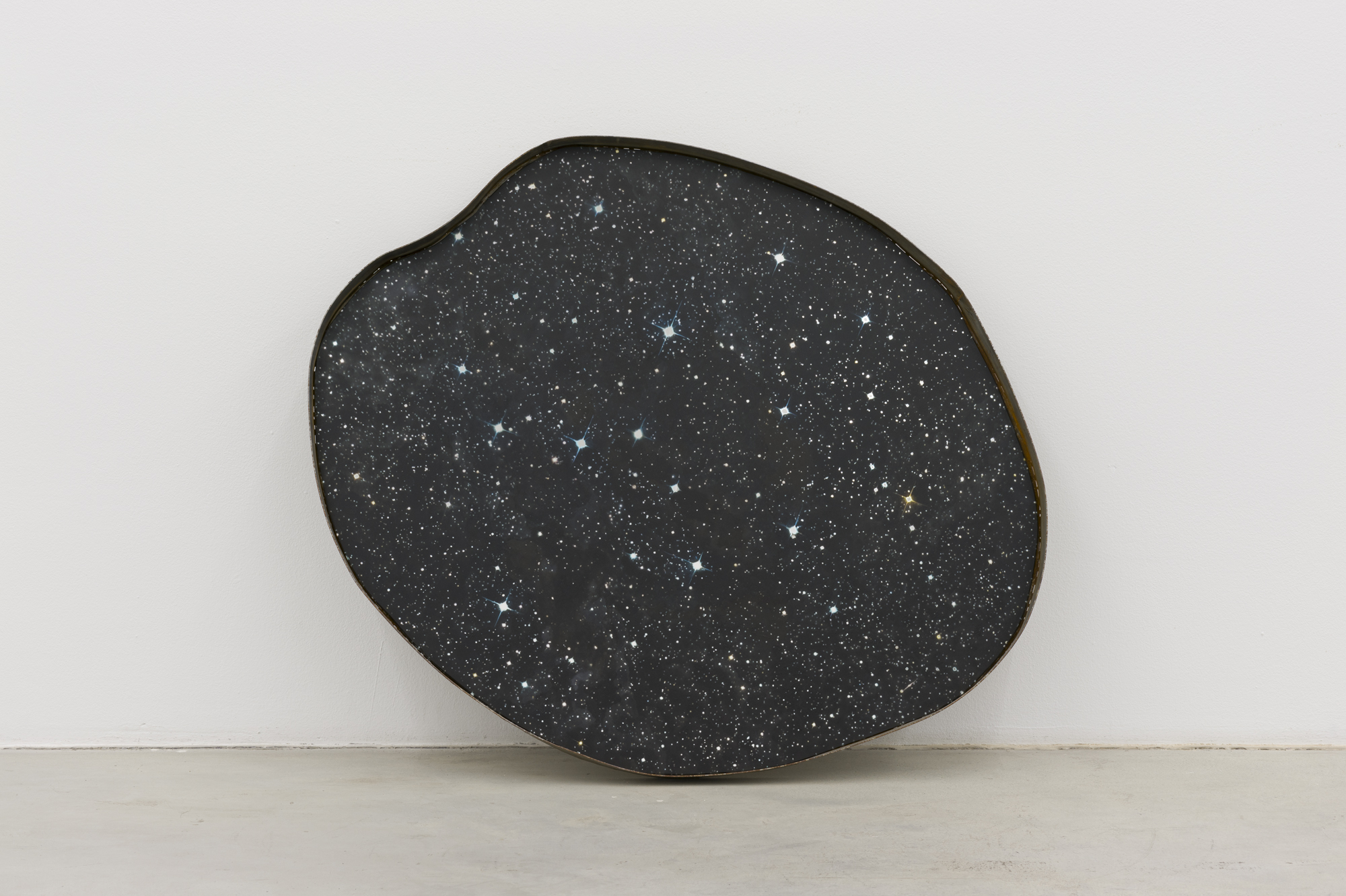 April, oil on mirror mounted in steel, 89 x 76 x 6 cm, 2015