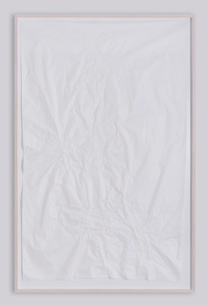 Rilasci, carbon paper on kraft paper, wood, plexiglas, 260 x 170 cm (framed), 2007