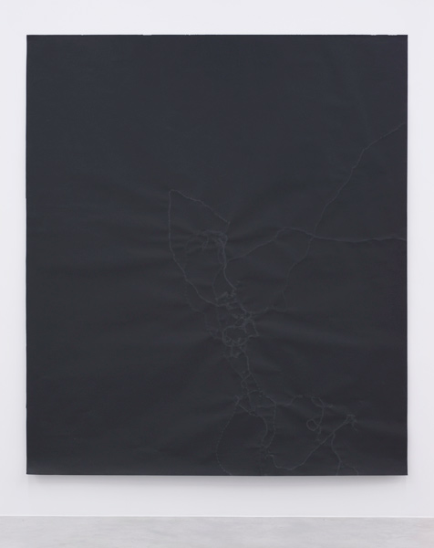 Untitled (Shining #4), black Bristol, snail trails, 254 x 220 cm, 2008