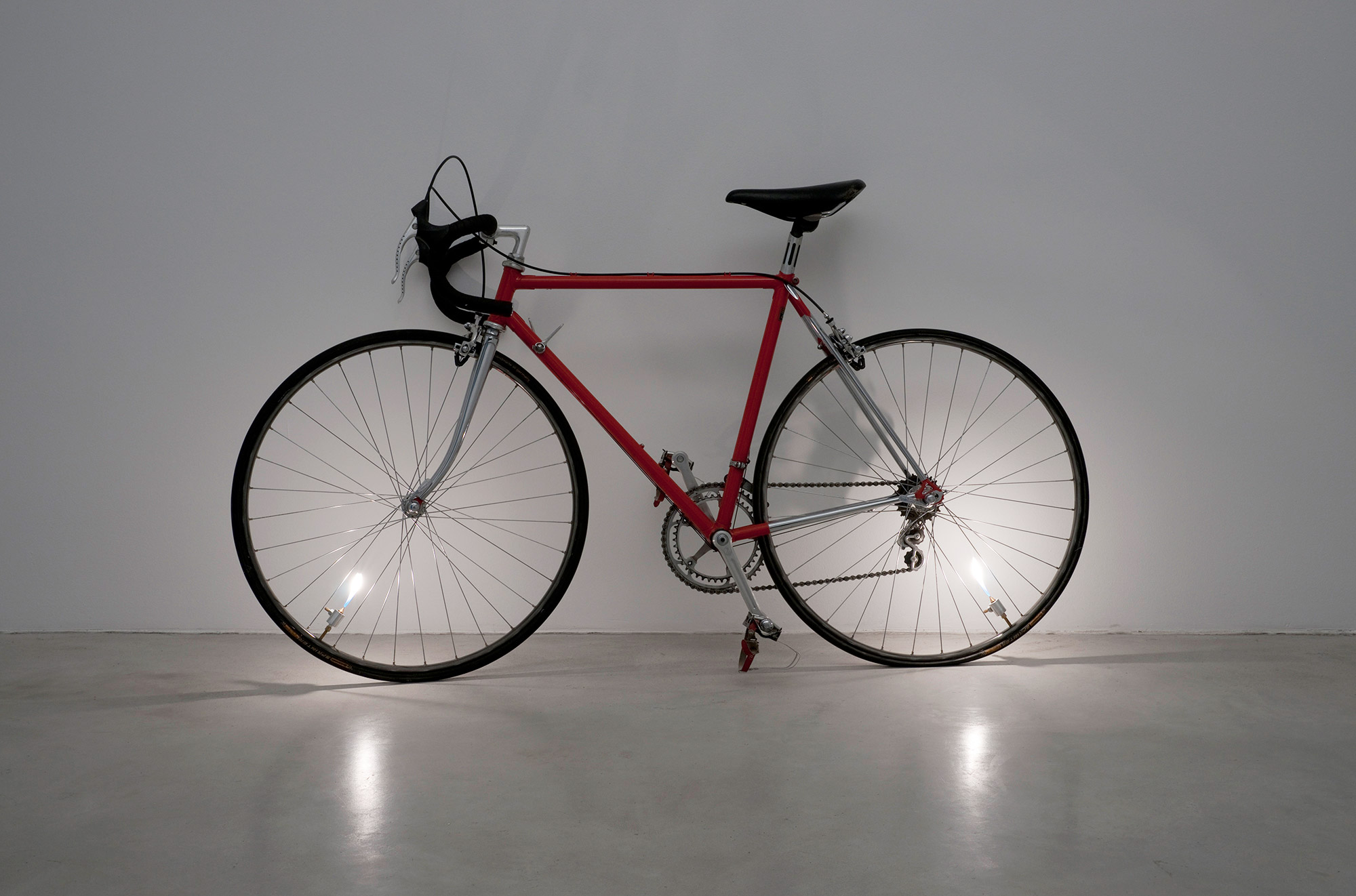 Untitled (bicycle piece), bicycle, cooking gas, valves, 180 x 92 x 33 cm, 2008. Photo: Marcus Schneider