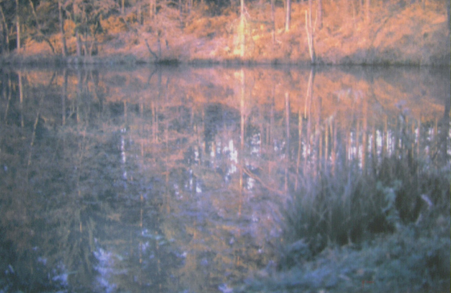 Pond by the woods, aerography on canvas, 80 x 120 cm, 2004
