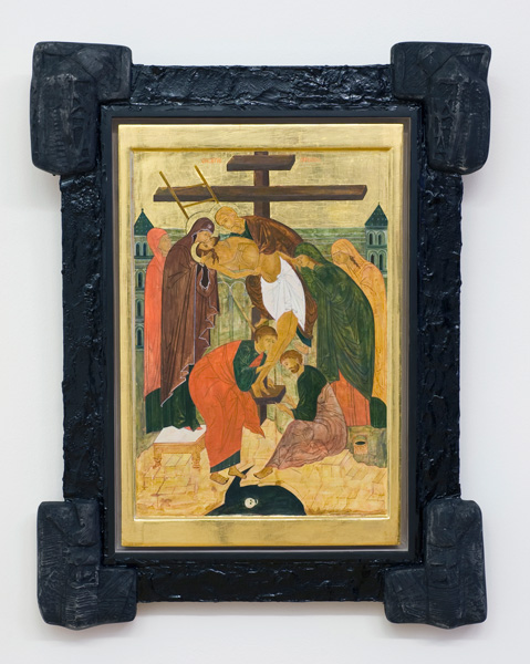 Descending from the Cross (Borut-Volgelnik), egg tempera on wood, silver leafs, bitumen, plaster, 93 x 72 cm, 2011