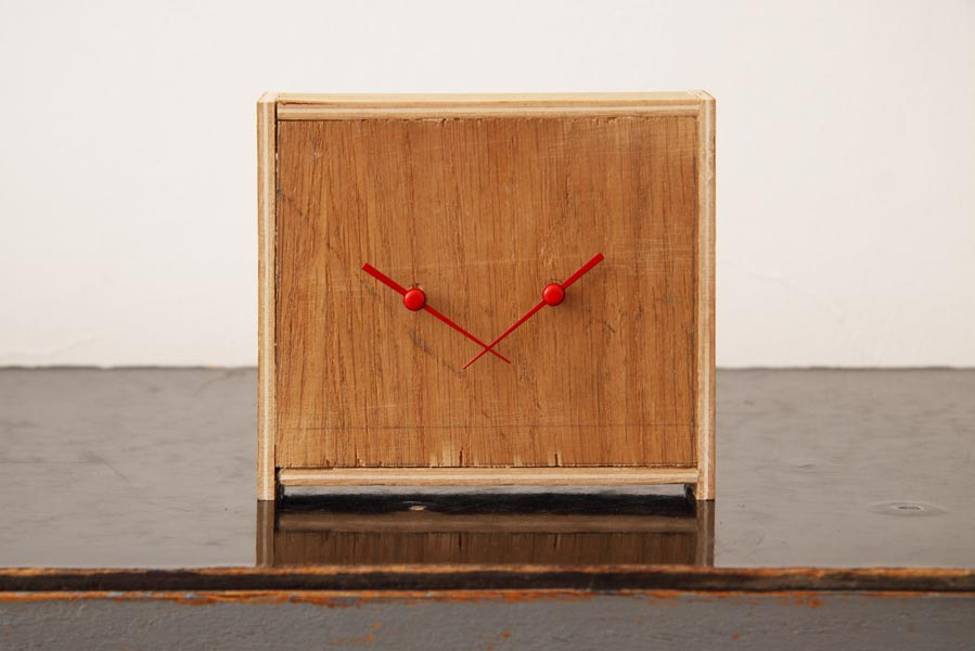 Clock Work, object / alarm clocks, wood panel, 10.5 x 12 x 5.5 cm, 1993