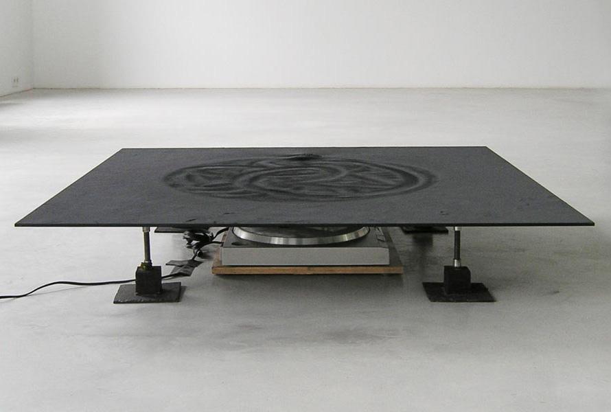 Drawing Machine, magnets, record player, glass plate, metal powder, 100 x 100 x 20 cm, 1992
