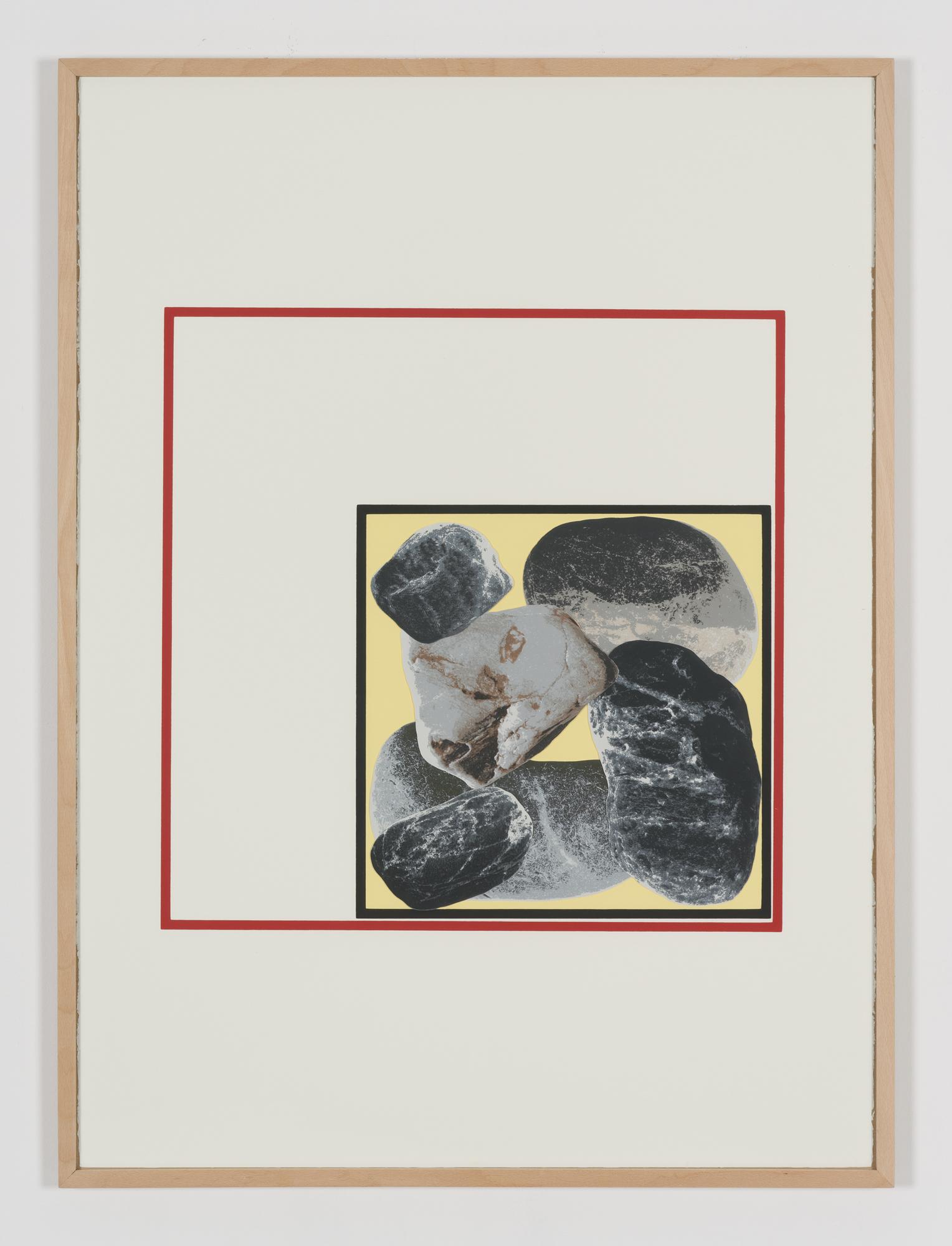 Panta Rhei, silk screen print, rearrangeable cut-out elements, wooden frame, 77 x 105 cm, from a series of twenty, 2015