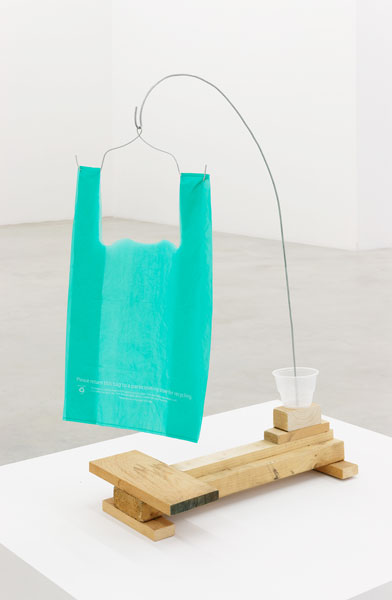 Untitled, wood, wire, plastic cup, plastic bag, 79 x 26 x 48 cm, 2013