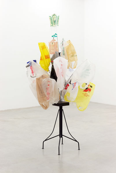 Bunch, metal, wood, enamel paint, wire, plastic bags, 221 x 107 x 107 cm, 1994