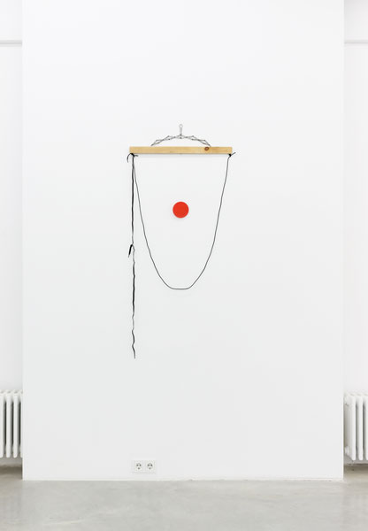 Untitled, wood, metal, shoelaces, cord, thread, plastic lid, 150 x 65 x 1.9 cm, 2013