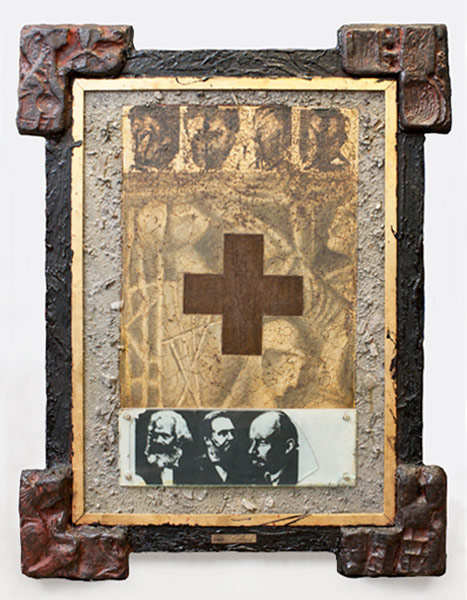 Death of Ideology, plaster, earth, paint, wood, tar, and photograph, 97 x 76 cm, 1988