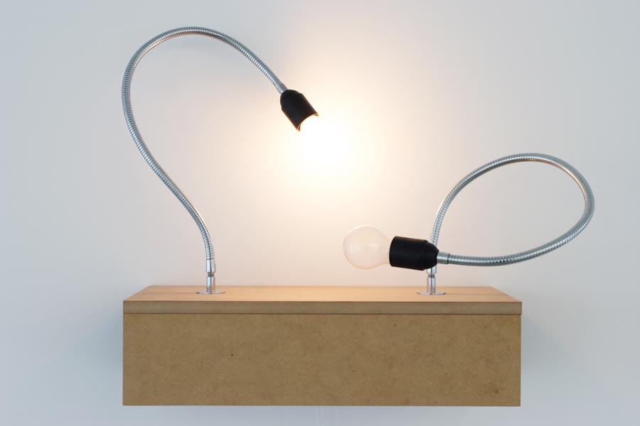 Dictionary of Imaginary Places (Two Lamps Version), wooden stand, metal cables, bulbs, timer, audio-installation, 2000 - 2005