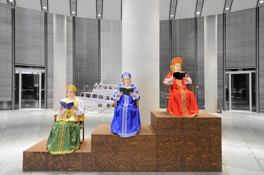 Die Ehre hüt von Jugend auf (Geopoetics 19), actors and accessories, 2009. Exhibition view at Museum Folkwang, Essen, 2009