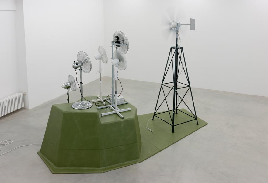 Don Quixote Pact, wind turbine generator, 5 electric fans, fiberglass construction, 215 x 400 x 310 cm, 2012