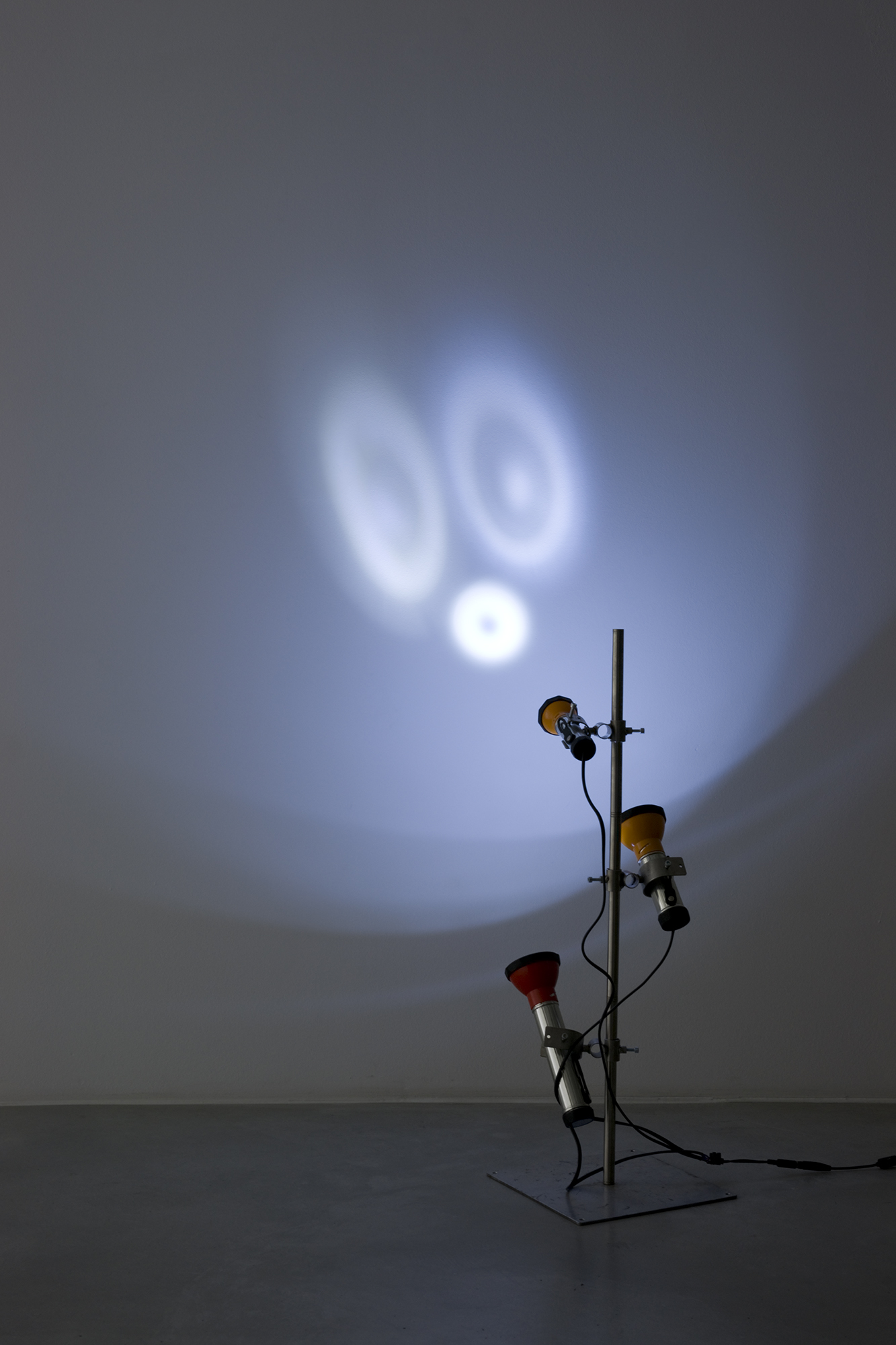 Light Sculptures (Planet of Apes), metal stand, flashlights, variable dimensions, 2002 - 2009