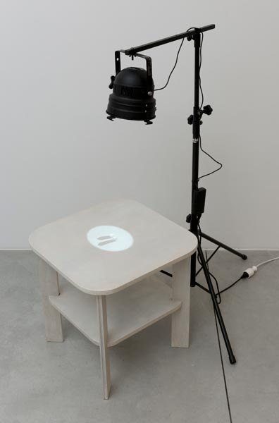 Sugar Twins, projector, two sugar cubes, table, 150 x 150 x 60 cm, 2012