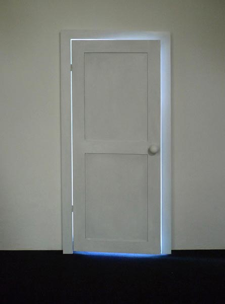 The door, wooden door, light, audio-installation, 180 x 70 x 10 cm, 2013