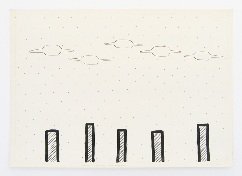 Geo-graphic (Five UFOs above the Factory), ink on paper, 61 x 86 cm, 1989-2005