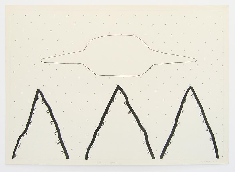 Geo-graphic (UFO and mountains), ink on paper, 61 x 86 cm, 1989-2005