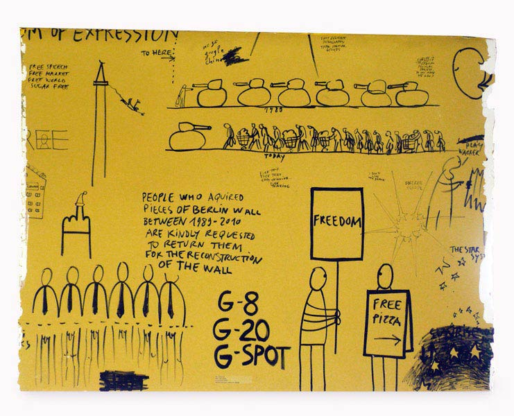 Freedom of Speech I, marker on painted wooden board, cut out from a wall installation at N.B.K. Berlin, 2010