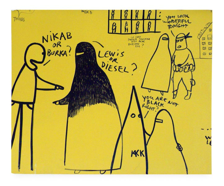 Freedom of Speech I, marker on painted wooden board, 141 x 172 cm, cut out from a wall installation at N.B.K. Berlin, 2010