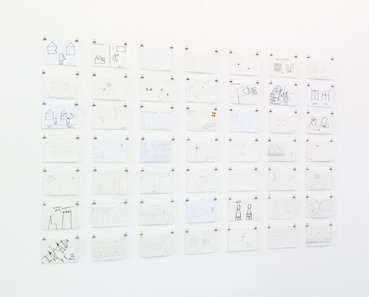 God and Goods, series of 80 postcards (variable display: 49 postcards on the installation view), ink on paper, 11 x 14.5 cm each, 2008