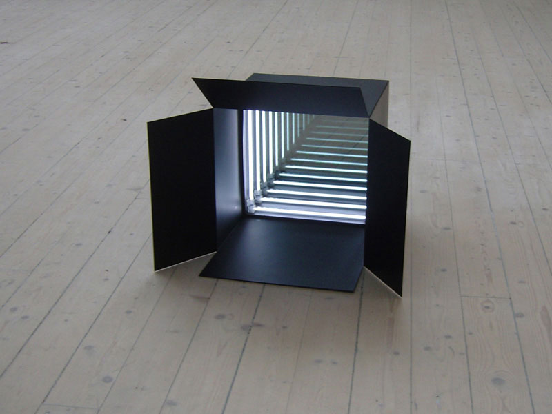 Untitled (for Christian Andersson), powder coated steel, mirror, two-ways mirror, CCFL light tubes, 32 x 47 x 54 cm, 2007