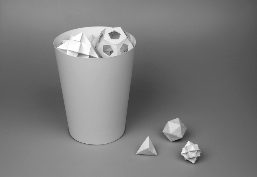 Wastebasket (bela), paper (origami), cardboard, glue, 38 x 27.5 x 27.5 cm, ongoing series, 2004-2006