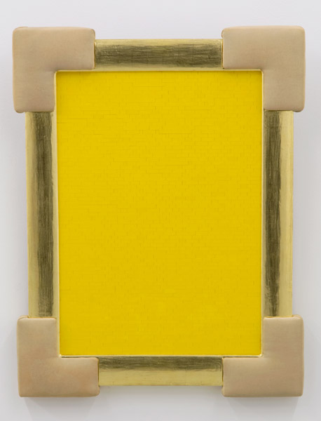Yellow Monochrome (Miran Mohar), Lego bricks, wood, fabric, 91 x 71 x 6 cm, 2007
