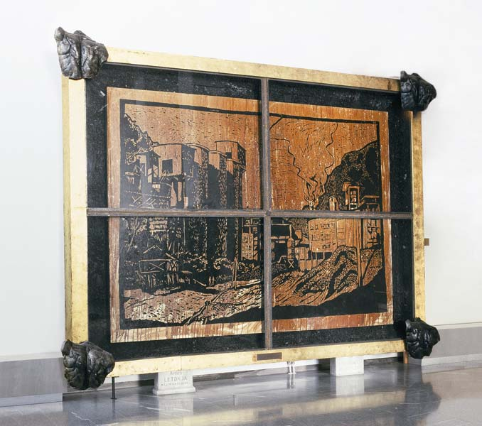 Red Districts, blood, coal, oil on canvas, wood, marble, aluminium, gold, iron, glass, 350 x 420 x 40 cm, 1987