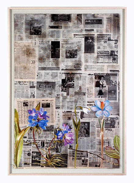 From Third Millennium (1), newspaper, soup, painting on cut paper, 200 x 140 cm (framed), 2008