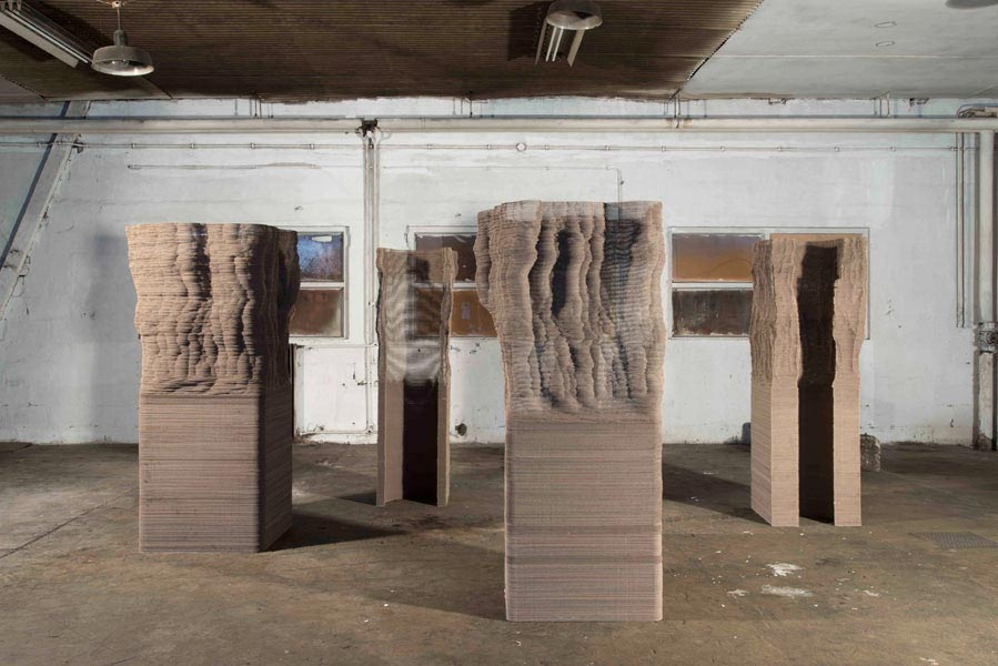 Macula (Series K), 2009-2013; cardboard, archival glue. Studio installation view. Photo: Matija Pavlovec