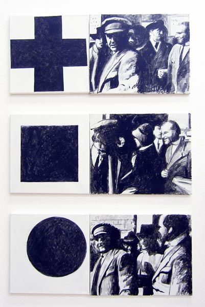 Autobiography, acrylic on canvas, 3 paintings (40 x 90 cm each), 1985