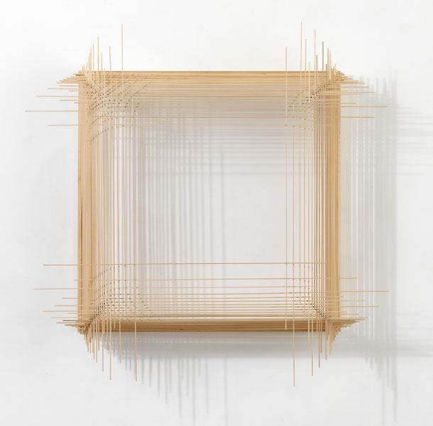 Model for Cinematography 2.4, wood, cotton string and glue, 109 x 107.5 x 17.5 cm, 2008