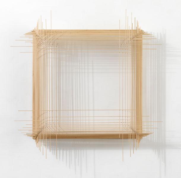 Model for C I N E M A T O G R A P H Y / 2.4, 2008; wood, cotton string and glue, 109 x 107.5 x 17.5 cm