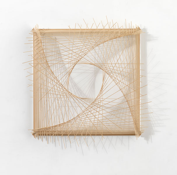 Model for Cinematography 3.4, wood, cotton string and glue, 109 x 107.5 x 17.5 cm, 2008
