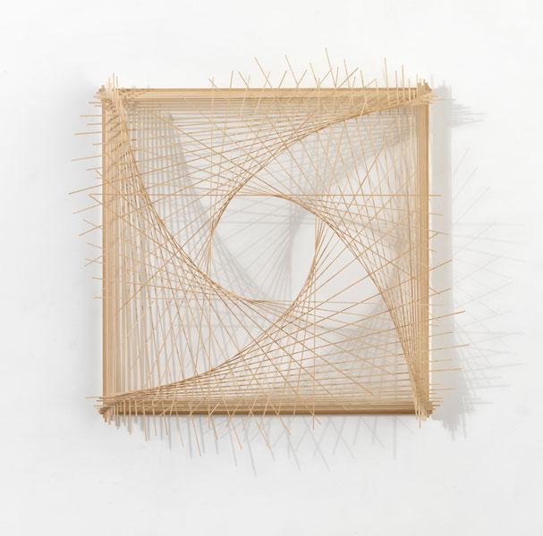Model for C I N E M A T O G R A P H Y / 3.4, 2008; wood, cotton string and glue, 109 x 107.5 x 17.5 cm