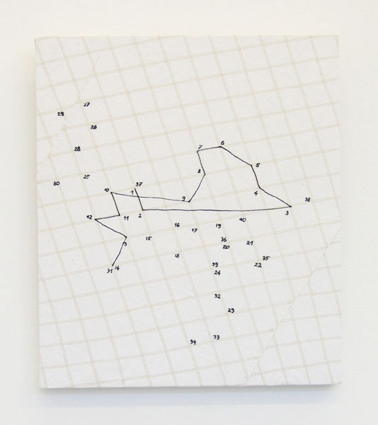 Untitled (with numbers), shirt tissue, pen, 30 x 26 cm, 2012