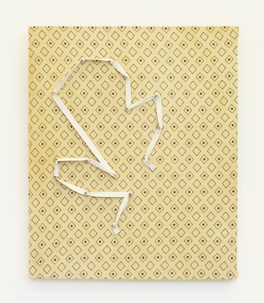 Untitled (with ribbon), tissue, gummy ribbon, nails on particleboard with veneer, 30 x 26 cm, 2012