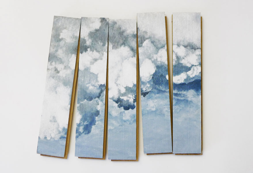 Untitled (Parquet Boards), oil on parquet boards, 5 pieces, each 7 x 31 x 2 cm, 2010