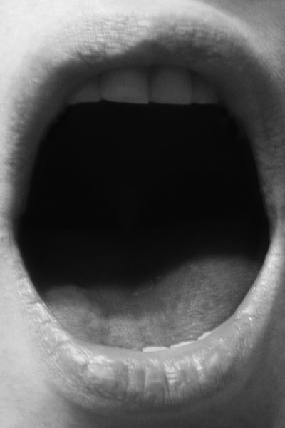 Untitled (Open Mouth), B&W print, 64 x 46 cm (framed), 2011