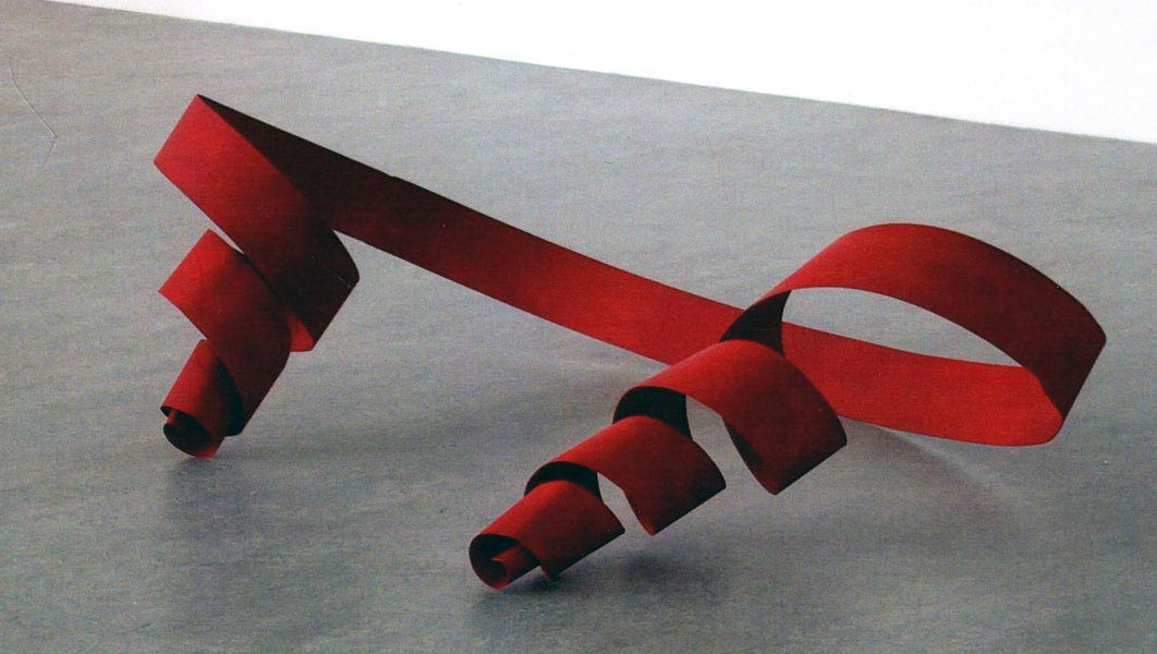 Untitled (Red Ribbon), acrylic on steel, 110 x 110 x 100 cm, 2011