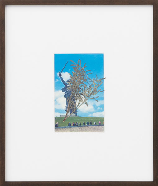 Untitled (#5), series of original postcards from Kazakhstan, dry leaves , 33 x 28 cm (framed), 2012