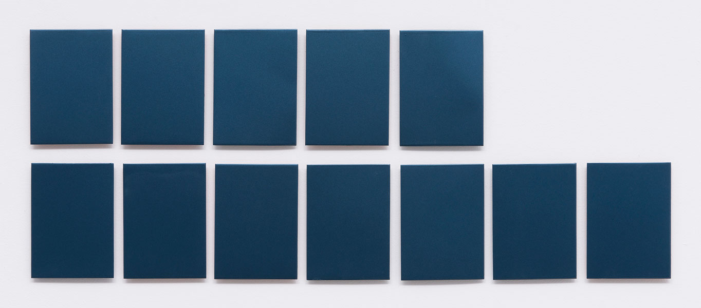 P.P. Monochrome, varnish on metal panel, series of 12, 18 x 13 cm each, 2011