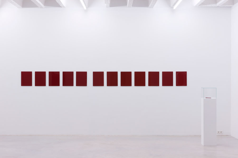 P.P. Monochrome, varnish on metal panel, series of 12, and lead holder with nail, 40 x 30 cm each, 2011